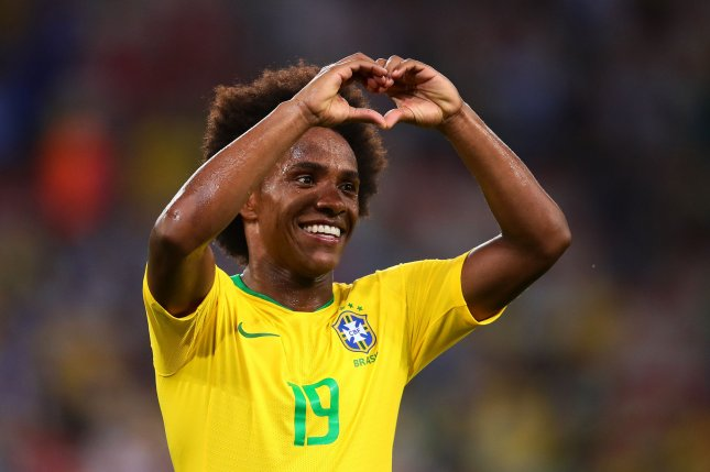 Willian has played for Brazil's national team since 2011. File Photo by Chris Brunskill/UPI