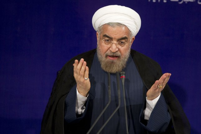 Iran's new president Hassan Rouhani makes a point during press conference at the presidential palace in Tehran, Iran on August 6, 2013. Rouhani said he was seriously determined to resolve the dispute with the West regarding Iran's nuclear program. UPI/Maryam Rahmanian