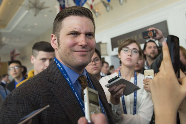 White supremacist Richard Spencer attended the Conservative Political Action Conference in February. On May 13, Spencer led a group in protest of the planned removal of a Confederate monument in Charlottesville, Virginia. Photo by Molly Riley/UPI