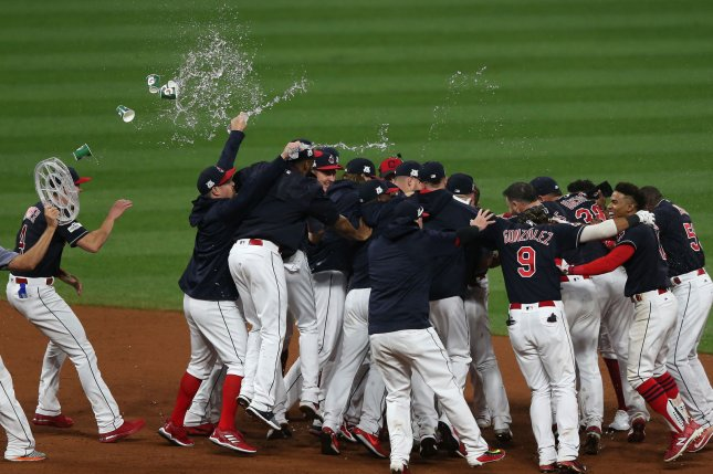 Cleveland Indians celebrate after defeating the New York Yankees in extra innings at the ALDS Game 2 on Friday at Progressive Field in Cleveland, Ohio Photo by Aaron Josefczyk/UPI