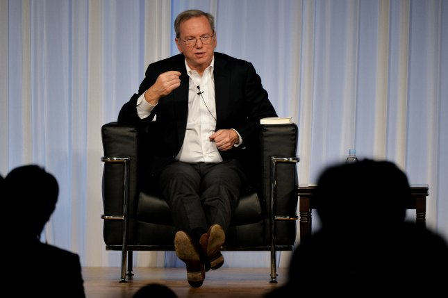 Eric Schmidt, Executive Chairman of Alphabet, the parent company of Google, speaks during an event in Tokyo on November 4, 2014. On Thursday, Schmidt announced he will step down and take on a technical adviser role. File Photo by Keizo Mori/UPI