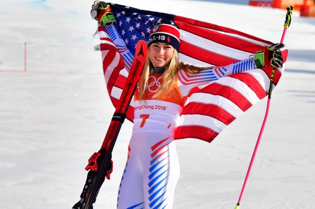 American Mikaela Shiffrin celebrates after winning gold in the ladies' giant slalom on Thursday at the Yongpyong Alpine Centre in Pyeongchang, South Korea. Photo by Kevin Dietsch/UPI