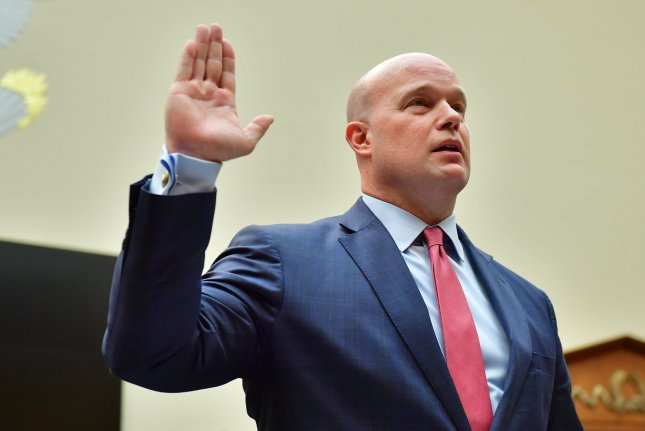 Acting Attorney General Matt Whitaker is sworn in to testify before the House Judiciary Committee hearing on oversight of the Justice Department, on Capitol Hill in Washington, D.C., on Friday. Photo by Kevin Dietsch/UPI