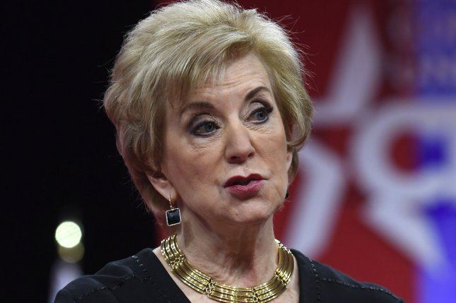 Small Business Administration Administrator Linda McMahon is departing the Trump Administration to chair the American First Action super PAC. File Photo by Mike Theiler/UPI
