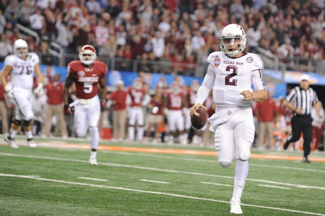 Quarterback Johnny Manziel starred for the Texas A&M Aggies in 2012 and 2013 before being selected in the first round of the 2014 NFL Draft. File Photo by Ian Halperin/UPI