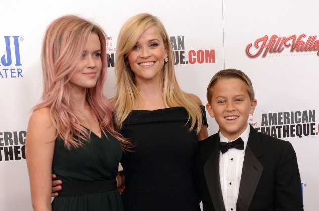 Honoree Reese Witherspoon and her daughter Ava Phillippe (L) and son Deacon Phillippe attend the 29th annual American Cinematheque gala at the Hyatt Regency Century Plaza in Los Angeles on Oct. 30, 2015. Photo by Jim Ruymen/UPI