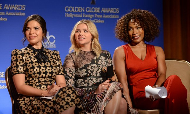 Actresses America Ferrera, Chloe Grace Moretz and Angela Bassett (L-R) wait to announce nominations for the 73rd annual Golden Globe Awards on December 10, 2015. Ferrera and Moretz announced this week that they will be speaking at the Democratic National Convention in support of Hillary Clinton. File Photo by Jim Ruymen/UPI