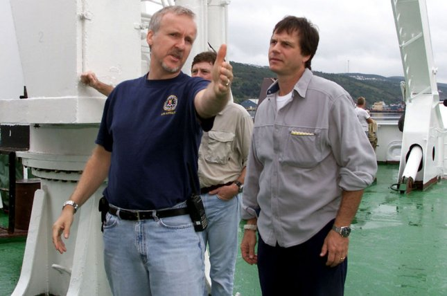Director James Cameron (left) and actor Bill Paxton on board the research vessel Keldysh on August 17, 2001, to launch production of the documentary Ghosts of the Abyss. Paxton died this weekend at the age of 61. File Photo by Frank Micelotta/UPI
