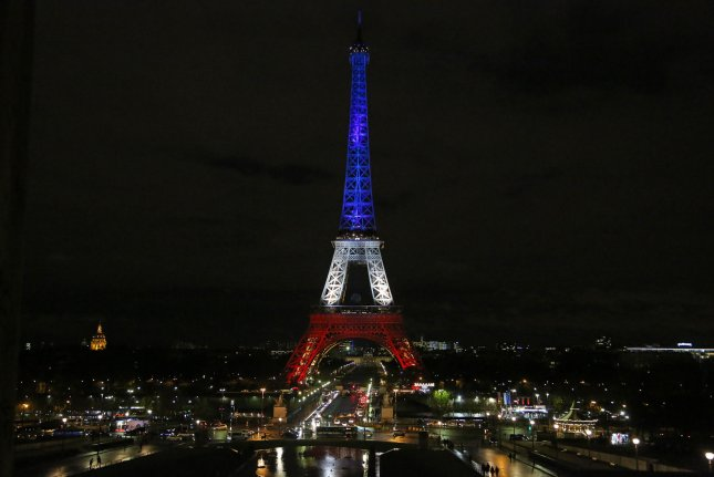 The Eiffel Tower illuminated in the colors of the French flag. The owner of the France.com website has filed a lawsuit against the French government for seizing the domain he has owned since 1994. Photo by David Silpa/UPI