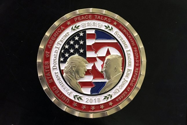 A commemorative coin for the upcoming U.S. and North Korean meeting is seen at the White House in Washington, D.C., on Monday. The challenge coin featuring the profile of President Tump and Korean Leader Kim Jong Un was made for the upcoming peace talks scheduled for June 12 in Singapore. Photo by Kevin Dietsch/UPI