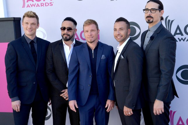 (L-R) Recording artists Nick Carter, AJ McLean, Brian Littrell, Howie D, and Kevin Richardson of music group Backstreet Boys are to perform at the CMT Awards ceremony next week. File Photo by Jim Ruymen/UPI