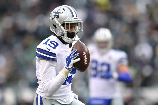 Former Dallas Cowboys wide receiver Brice Butler scores a touchdown during the fourth quarter against the Philadelphia Eagles on December 31, 2017 at Lincoln Financial Field in Philadelphia. Photo by Derik Hamilton/UPI