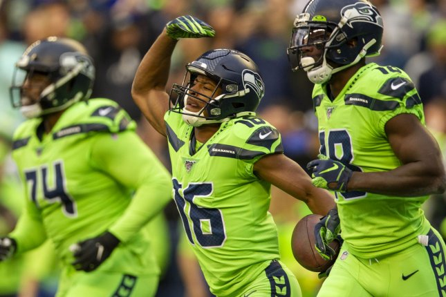 Seattle Seahawks wide receiver Tyler Lockett (16) has 62 catches for 793 yards and six touchdowns in 10 games this season. Photo by Jim Bryant/UPI