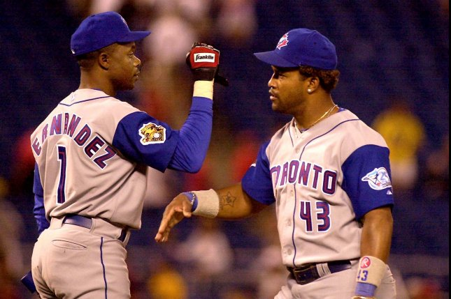 Former Toronto Blue Jays shortstop Tony Fernandez (L) played 12 seasons with the Blue Jays. He was a five-time All-Star and four-time Gold Glove winner. File Photo by Jon Adams/UPI