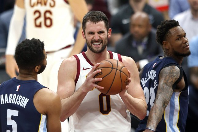 Cleveland Cavaliers star Kevin Love (C), through his foundation, is developing an education curriculum designed to destigmatize anxiety and depression. File Photo by Aaron Josefczyk/UPI