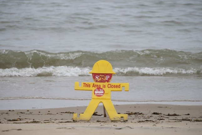 A section of beach is closed at Rye Playland Beach in New York on May 24 due to restrictions associated with the coronavirus pandemic. File Photo by John Angelillo/UPI