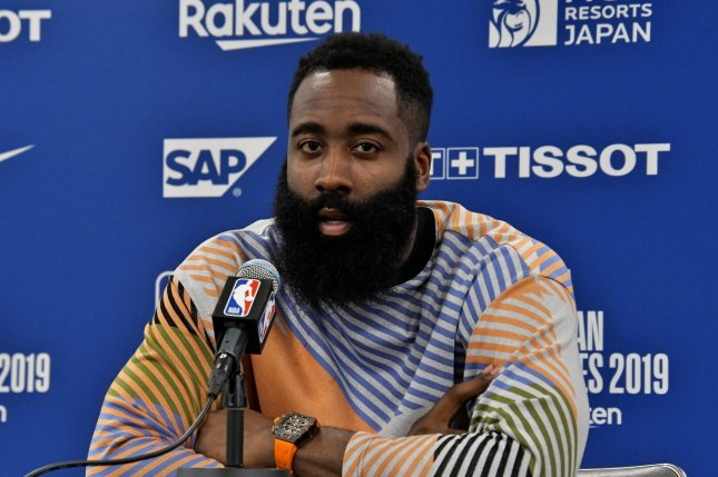 Houston Rockets shooting guard James Harden, a three-time scoring champion and eight-time All-Star selection, has averaged 24.8 points and 10.4 assists in eight games this season. File Photo by Keizo Mori/UPI