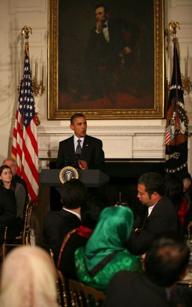 U.S. President Barack Obama hosts an Iftar dinner in celebration of the Islamic holy month of Ramadan in the State Dining Room of the White House in Washington on August 13, 2010. President Obama expressed his support for a controversial project to build a mosque near Ground Zero. UPI/Martin H. Simon/Pool