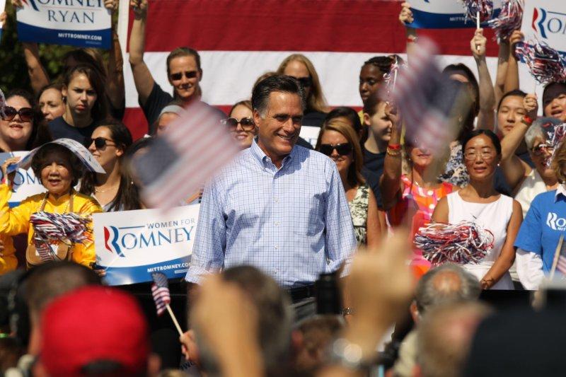 Republican presidential nominee Mitt Romney at a campaign event in Fairfax, Va., Sept. 13, 2012. UPI/Molly Riley
