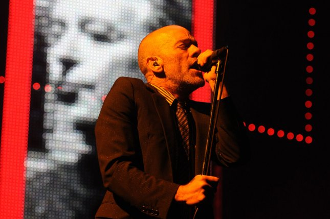 Singer Michael Stipe performs with R.E.M in 2008. Stipe recently surprised fans during a Patti Smith concert when he opened the show with a solo covers set. File Photo by Rune Hellestad/UPI