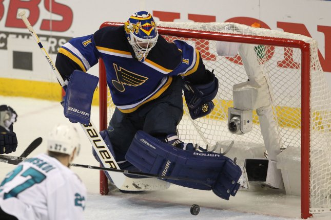St. Louis Blues goaltender Brian Elliott kicks away the puck in the third period against the San Jose Sharks in Game One of the NHL Western Conference Finals at the Scottrade Center in St. Louis on May 15, 2016.St. Louis won the game 2-1. Photo by Bill Greenblatt/UPI