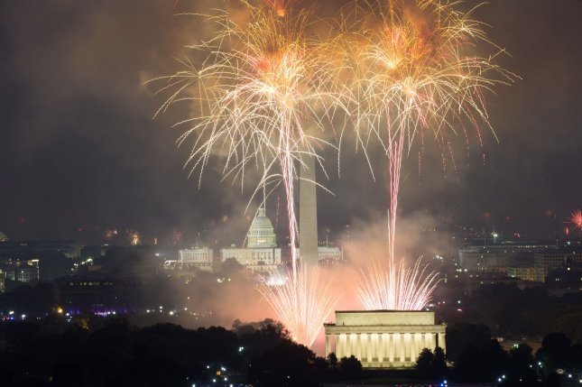 The annual Independence Day fireworks display lights up the Washington, DC skyline as seen from Top of the Town in Arlington, Virginia on July 4, 2017. The fireworks celebrated the 241st anniversary of the United States' Declaration of Independence from England. Photo by Erin Schaff/UPI