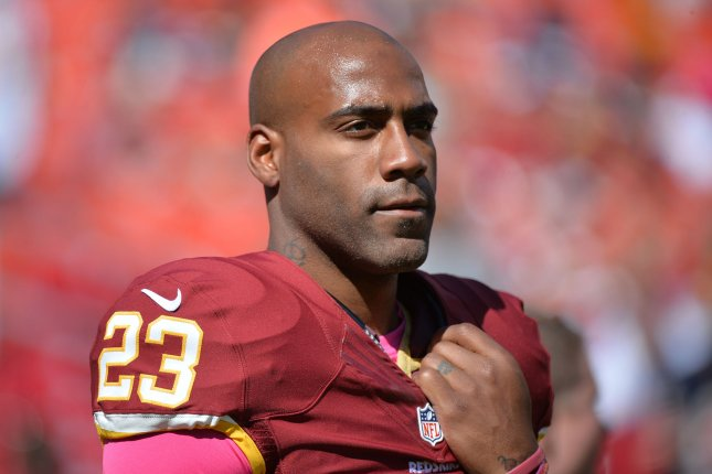Washington Redskins safety DeAngelo Hall is seen at the start of the Redskins game against the Chicago Bears at FedEx Field in Landover, Maryland. File photo by Kevin Dietsch/UPI