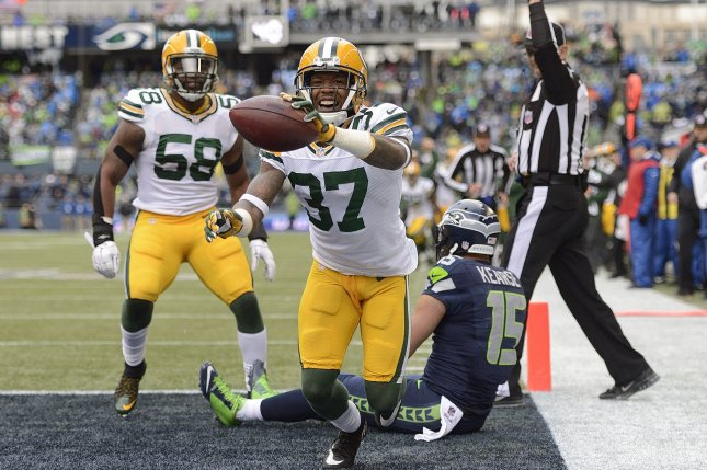 Sam Shields (37), formerly of the Green Bay Packers, celebrates after intercepting a pass away from Jermaine Kearse (15) of the Seattle Seahawks in the NFC Championship Game on January 18, 2015 at CenturyLink Field in Seattle, Washington. File photo by Troy Wayrynen/UPI