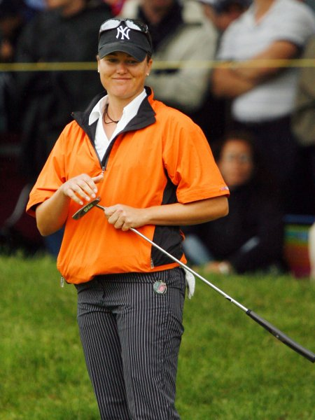Sophie Gustafson, shown at the Sybase Classic in New Jersey May 18, 2008. (UPI Photo/John Angelillo)