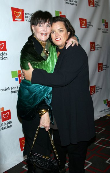 Rosie O'Donnell and Linda Dano arrive for Rosie's Broadway Extravaganza at the Double Tree Hotel in New York on November 23, 2009. UPI /Laura Cavanaugh