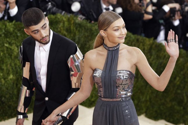 Gigi Hadid (R) and Zayn Malik at the Costume Institute Benefit at the Metropolitan Museum of Art on May 2. File Photo by John Angelillo/UPI