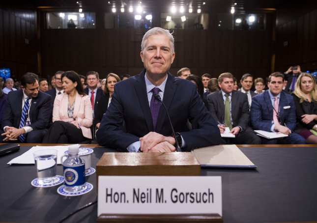 Supreme Court Justice nominee Neil Gorsuch testifies during his confirmation hearing before the Senate Judiciary Committee on Capitol Hill on Tuesday. Photo by Kevin Dietsch/UPI