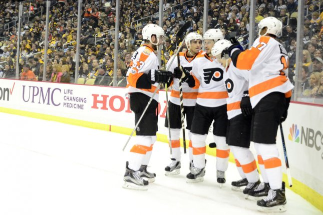 The Philadelphia Flyers scored five first-period goals en route to a 6-3 rout over the New York Islanders on Thursday night at the Wells Fargo Center File Photo by Archie Carpenter/UPI