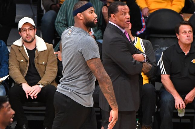 Pelicans center DeMarcus Cousins (L) and head coach Alvin Gentry earlier this season. The Pelicans announced Gentry and GM Dell Demps would return for next season. File photo by Jon SooHoo/UPI