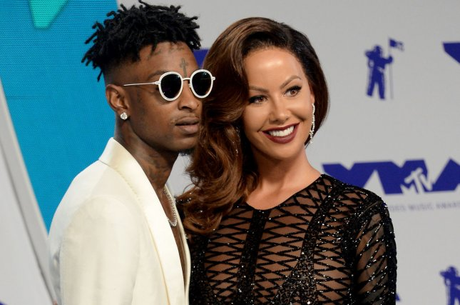 Amber Rose (R) and 21 Savage attend the MTV Video Music Awards on Sunday. Photo by Jim Ruymen/UPI
