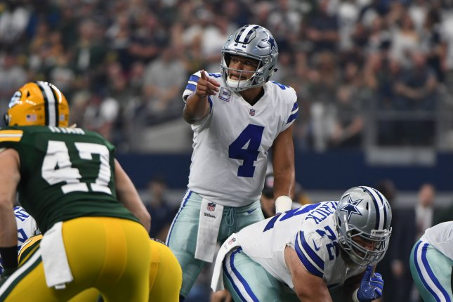 Dallas Cowboys QB Dak Prescott calls a play at the line of scrimmage as he faces the Green Bay Packers Sunday at AT&T Stadium in Arlington, Texas. Photo by Ian Halperin/UPI