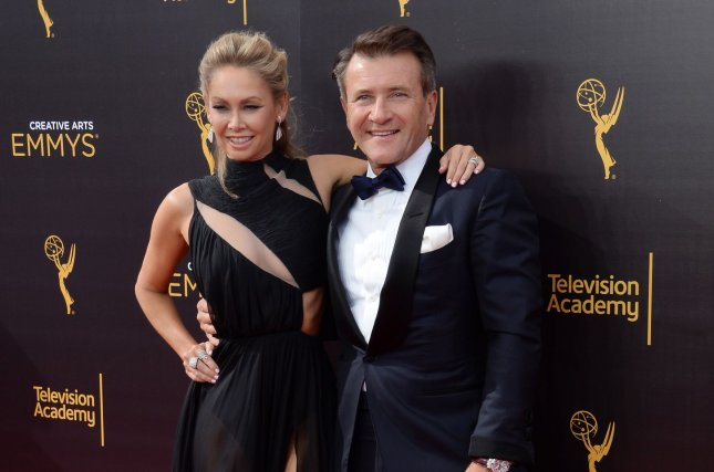 Kym Johnson (L), pictured with Robert Herjavec, showed off her growing belly after announcing she's expecting with Herjavec. File Photo by Jim Ruymen/UPI