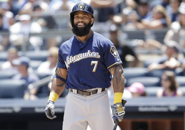 Eric Thames and the Milwaukee Brewers face the Cincinnati Reds on Friday. Photo by John Angelillo/UPI
