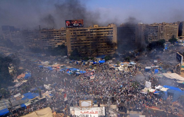 Seventy-five people received preliminary death sentences Saturday on charges related to the August 2013 protest shown in Rabaa Square in Egypt's capital, Cairo. File photo by Ahmed Asad/UPI