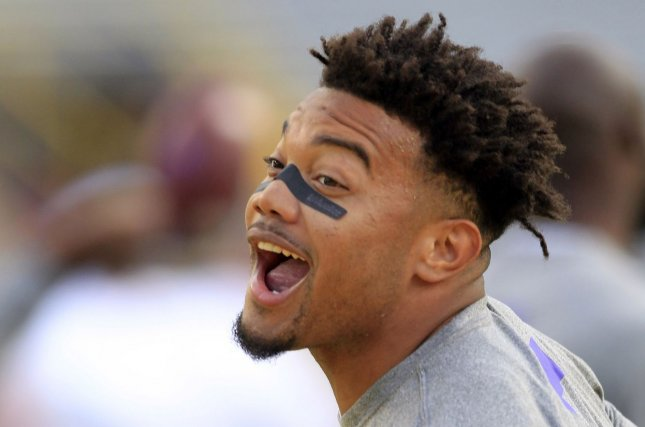 Former LSU Tigers running back Derrius Guice (5) is out for the season with a torn ACL. File photo by AJ Sisco/UPI