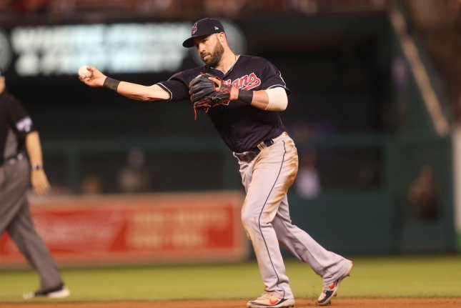Cleveland Indians infielder Jason Kipnis throws the ball to first base getting St. Louis Cardinals' Jose Martinez on a ground out in the seventh inning on June 25 at Busch Stadium in St. Louis. Photo by Bill Greenblatt/UPI