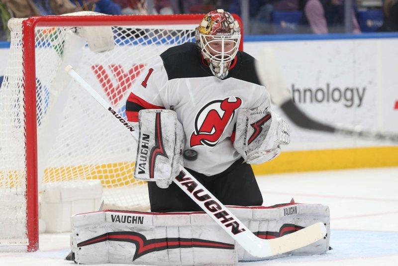 Keith Kinkaid and the New Jersey Devils face the Carolina Hurricanes on Sunday. Photo by BIll Greenblatt/UPI
