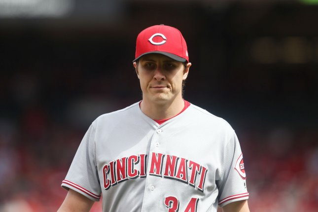 Former Cincinnati Reds starting pitcher Homer Bailey was traded to the Los Angeles Dodgers on Dec. 21. Photo by Bill Greenblatt/UPI