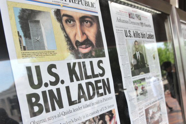 Front-page headlines announce the death of al-Qaida terror leader Osama bin Laden in 2011.  File Photo by Kevin Dietsch/UPI