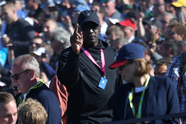 Basketball great Michael Jordan, pictured at the Ryder Cup golf tournament in Paris in 2018, teared up and asked The Last Dance director Jason Hehir to stop an interview when he discussed his relationship with his Chicago Bulls teammates. File Photo by David Silpa/UPI