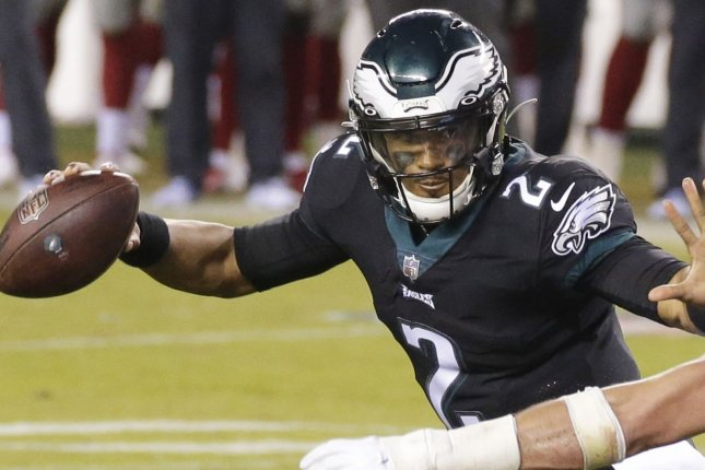 Philadelphia Eagles rookie Jalen Hurts, shown here in October, completed 5 of 12 passes for 109 yards, one touchdown and an interception in the second half of a loss to the Green Bay Packers on Sunday in Green Bay, Wis. File Photo by John Angelillo/UPI