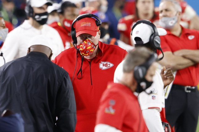 The Feb. 4 car crash that involved Britt Reid, the son of Kansas City Chiefs head coach Andy Reid (C), will likely result in permanent brain injuries for a 5-year-old girl who was in one of two cars Reid hit in Kansas City, Mo. FilePhoto by John Angelillo/UPI