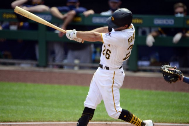 Pittsburgh Pirates second baseman Adam Frazier, shown Aug. 23, 2020, isn't a free agent until after the 2022 season. File Photo by Archie Carpenter/UPI