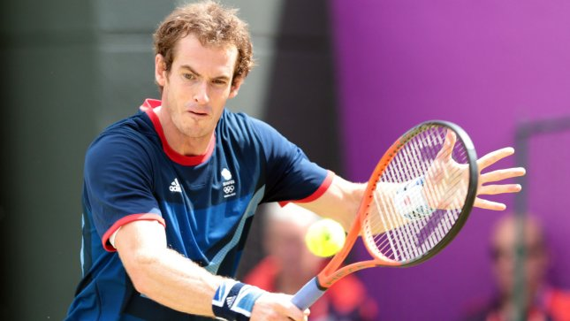 Great Britain's Andy Murray in action against Spain's Nicolas Almagro in the Men's Tennis Quarter-Final at the London 2012 Summer Olympics on August 02, 2012 in Wimbledon, London. UPI/Hugo Philpott