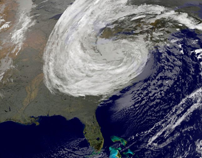 The remnants of Hurricane Sandy covers most of the eastern United States in this satellite photo from the NOAA-NASA GOES Project as it is located over central Pennsylvania the morning of October 30, 2012. The storm merged with an Arctic jet stream and caused heavy snow in West Virginia. UPI